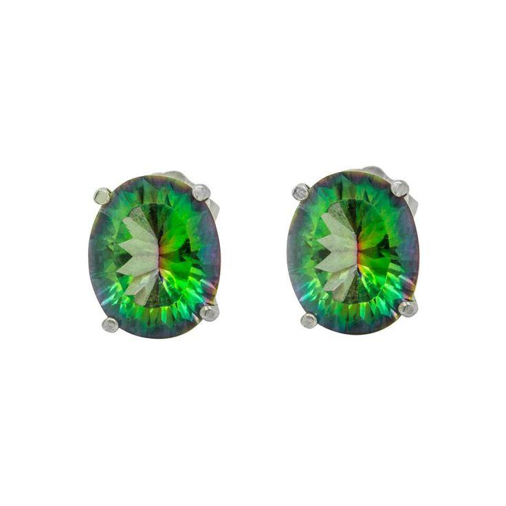 Magic Green Quartz Oval Stud earrings by ElizabethEverettJ on Etsy