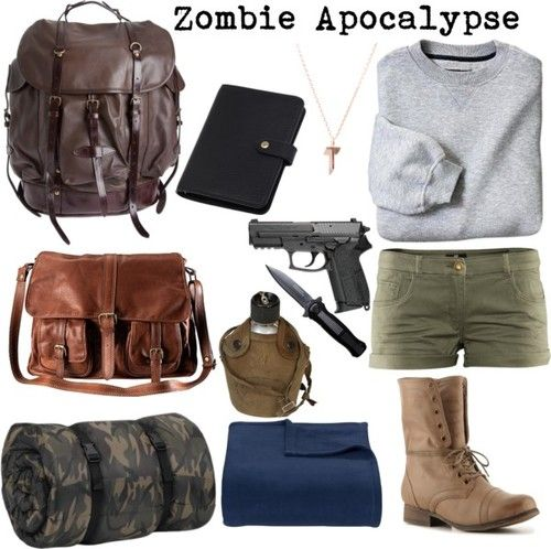 Zombie Apocalypse fashion. You just gotta look good while you're being hunted by the undead