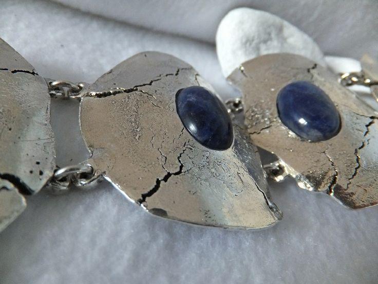 Bracelet argenté et sodalite