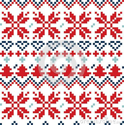 Winter seamless pattern with christmas snowflake and ornaments