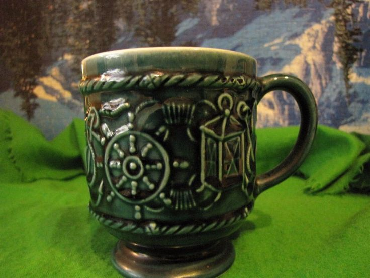 Secla Portugal Navy ship boat Sea Mug Portuguese  craquelure dark green Vintage