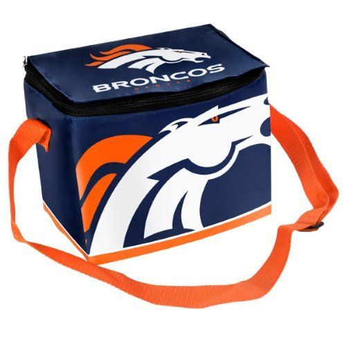 Denver Broncos Big Logo 12 Pack Zipper Lunch Cooler by Forever Collectibles. $11.99. Zipper closure. Insulated lining. Zipper Lunch Cooler. Screen print graphics. Nylon strap and shell. Keep your favorite beverages nice and cool with this Denver Broncos Big Logo 12 Pack Zipper Lunch Cooler. Made by Forever Collectibles, this Denver Broncos cooler features vibrant team colors and can hold up to 12 canned beverages.