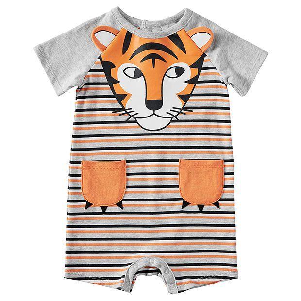 Baby Tiger Print Stripe Romper
