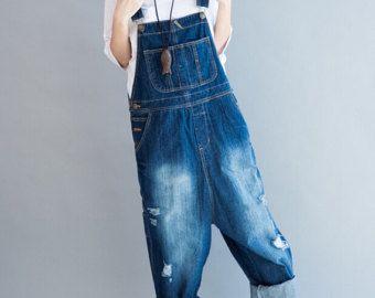 Blue/ green Cotton Loose fitting Woman long Bib/ Large by MaLieb