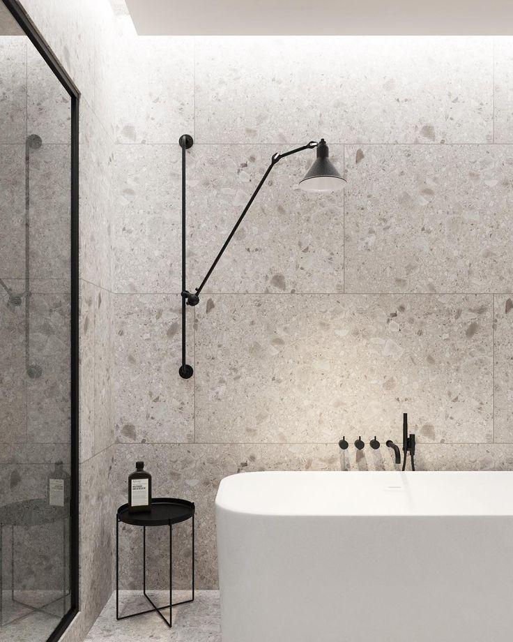 Badezimmer mit schwarzen #Vola Armarturen