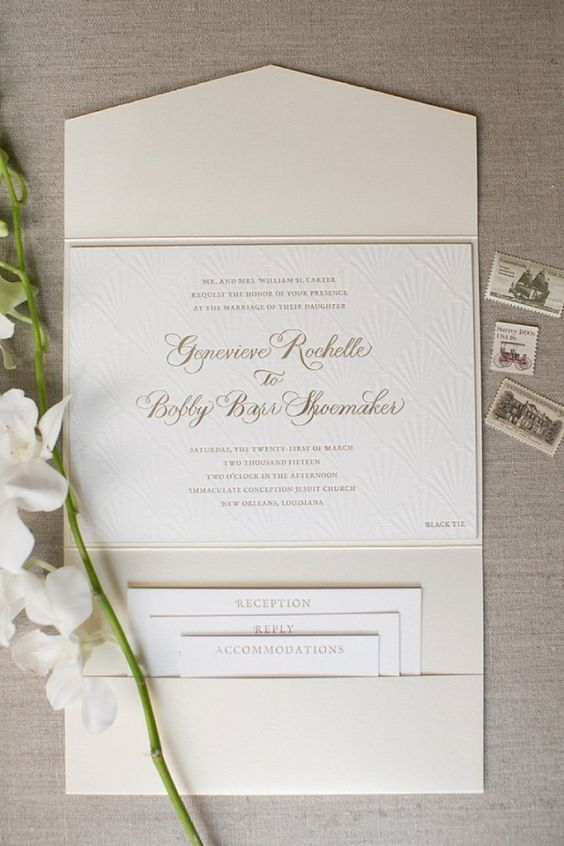 genny barr new orleans wedding invitation suite vintage stamps portfolio invitation - Picture Wedding Invitations