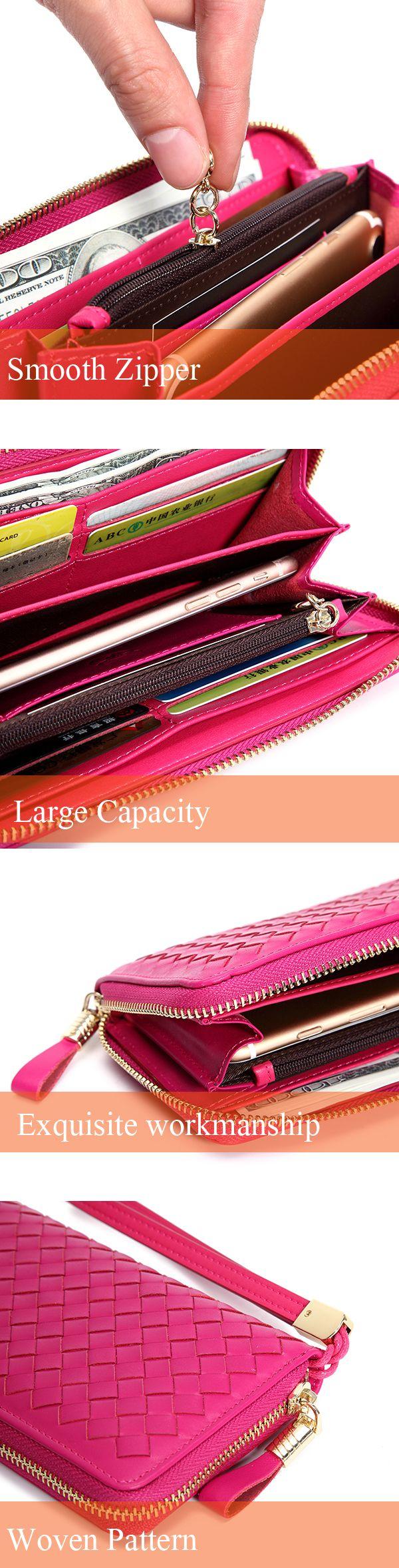 Women Men Genuine Leather Woven Pattern 8 Card Slots Cellphone Wallet Coins Bag Wallet