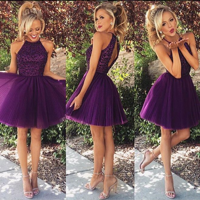 halter purple party dress,beading tulle party dress,cute homecoming dress,backless women short prom dress