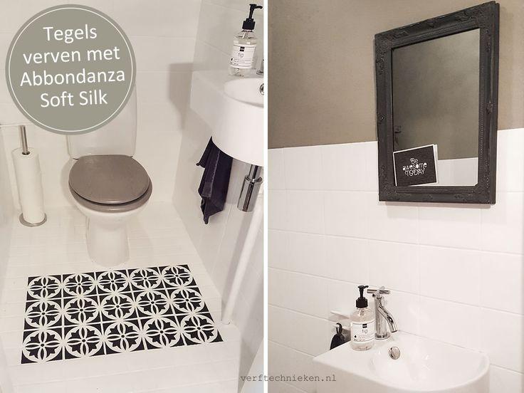 Wand- en vloertegels op het toilet verven met Abbondanza Soft Silk verf