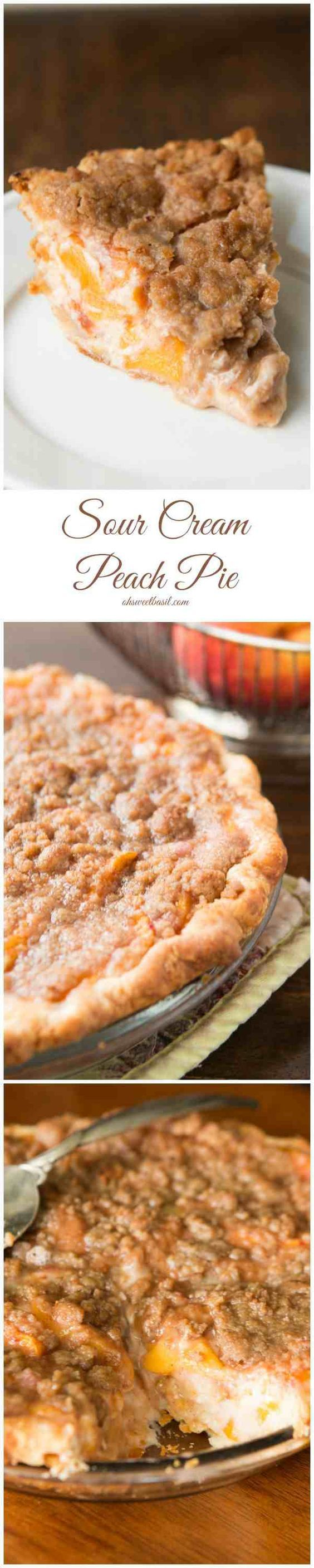 Our favorite pie! Sour cream peach pie with this awesome brown sugar crumble topping!! ohsweetbasil.com: