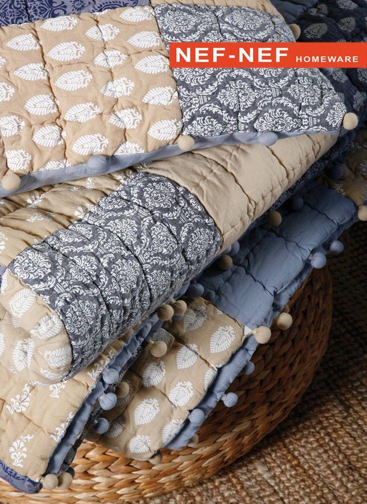 Χειροποίητα κουβερλί και μαξιλάρια INDIGO της συλλογής Spring-Summer 2015. Handmade bedcovers and pillows INDIGO of the Spring Summer 2015 Collection.