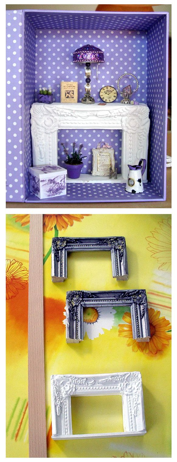 Dollhouse miniature - fireplace from a picture frame