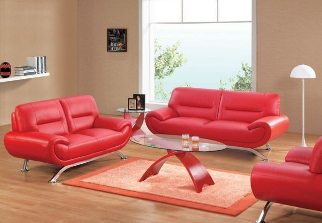 Red Leather Sofa Coffee Table Oval Carpet Rectangular Living Room