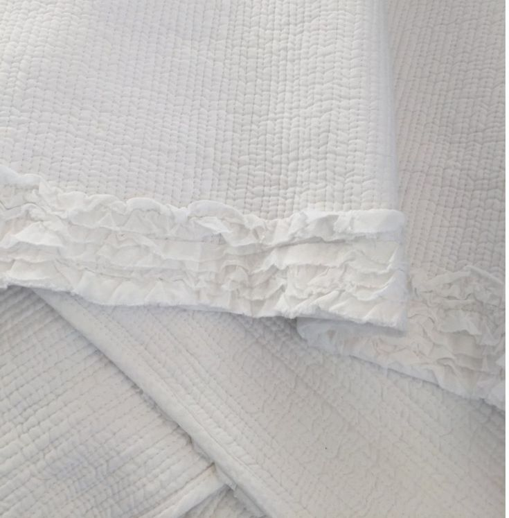 Hamptons White Rag French Country Ruffle Shabby Sofa Couch Bed Throw Blanket New