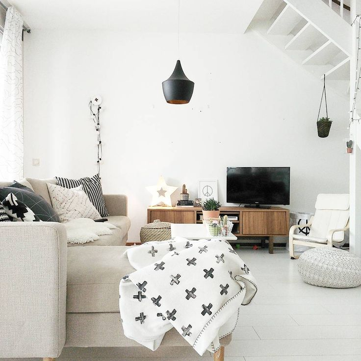 Neutral colors, scandinavian/nordic style. I love our living room!