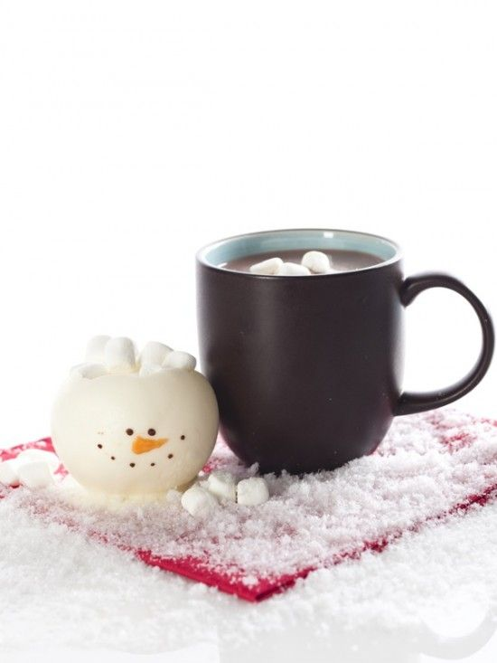 chocolate snowman marshmallow holder! Too cute!