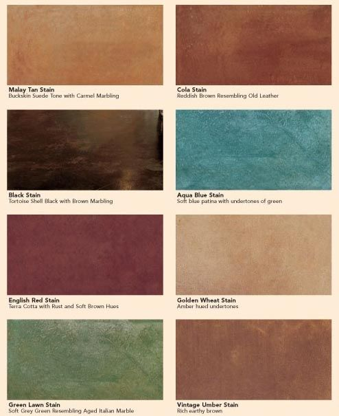 Kemiko Stained Concrete Colors - like this color palette best. Maybe mix Vintage Umber and Golden Wheat???