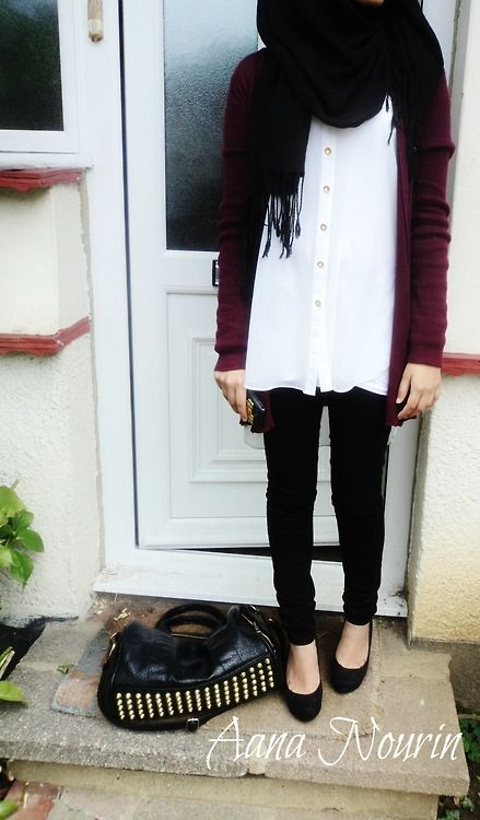 black skinny jeans and red cardigan