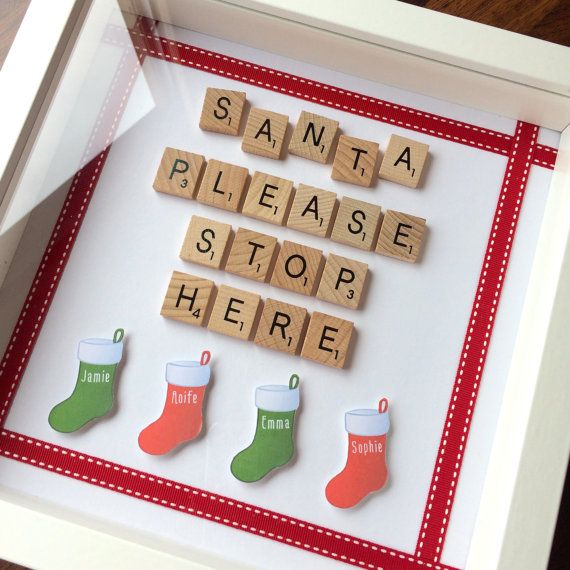Santa Stop Here Sign Frame - Personalised Scrabble Style Art - Christmas