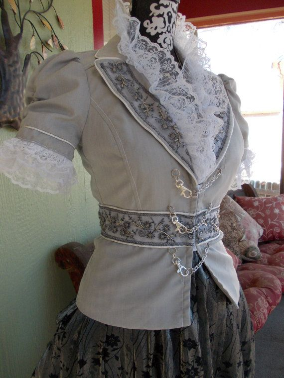 Winter's Frost Bodice Upcycled Steampunk Jacket in by ReviveGifts. Upcycle a blazer into steampunk jacket by adding buckles and lace