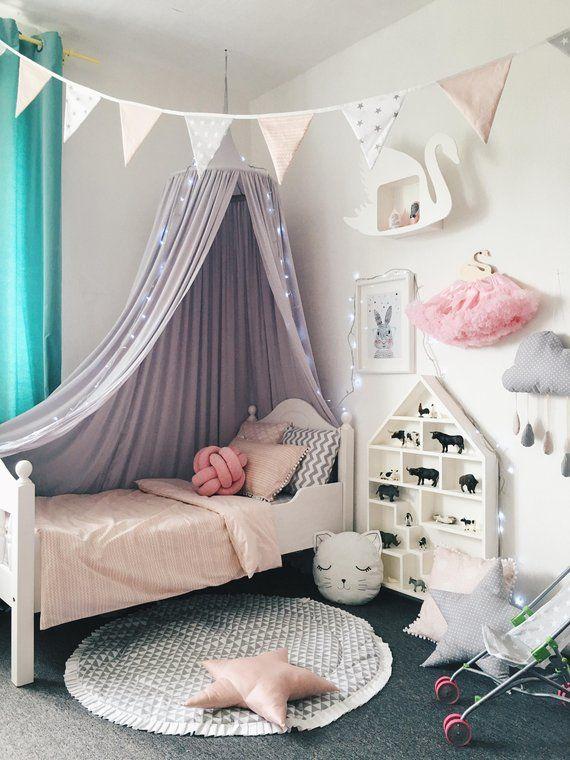 Bed Canopy - Play Canopy Grey - Grey Nursery Canopy ...