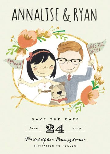 WEDDING SAVE THE DATE CARDS - CUSTOM ILLUSTRATED COUPLE PORTRAIT - WITH PET OPTIONAL - DIGITAL FILE FOR PRINTING BY YOU  A beautiful floral