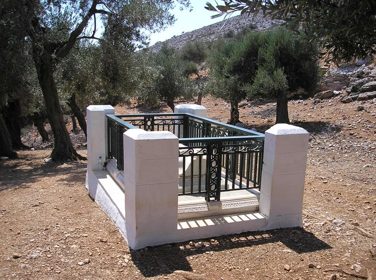 """Grave of the British poet Rupert Brooke, Isle of Skyros, Greece.  """"If I should die, think only this of me: That there's some corner of a foreign field That is for ever England. There shall be In that rich earth a richer dust concealed; A dust whom England bore, shaped, made aware, Gave, once, her flowers to love, her ways to roam, A body of England's, breathing English air, Washed by the rivers, blest by suns of home.""""  . . . The Soldier (1914)  (Rupert Brooke, 3 August 1887 – 23 April 1915)"""