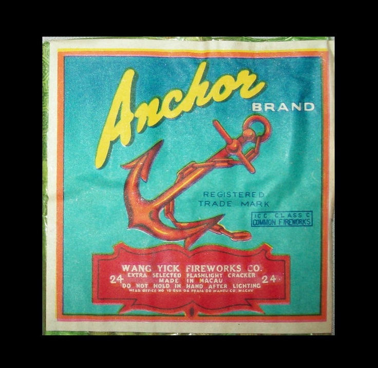 Old Vtg 1960's Anchor Brand Fire Crackers Firecracker Pack Label Made in Macau | eBay