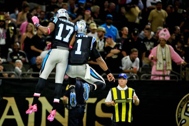 Panthers vs. Saints:      October 16, 2016  -  41-38, Saints  -    Carolina Panthers at New Orleans Saints  Oct 16, 2016; New Orleans, LA, USA; Carolina Panthers quarterback Cam Newton (1) celebrates with wide receiver Devin Funchess (17) after a touchdown against the New Orleans Saints during the second quarter of a game at the Mercedes-Benz Superdome. Mandatory Credit: Derick E. Hingle-USA TODAY Sports