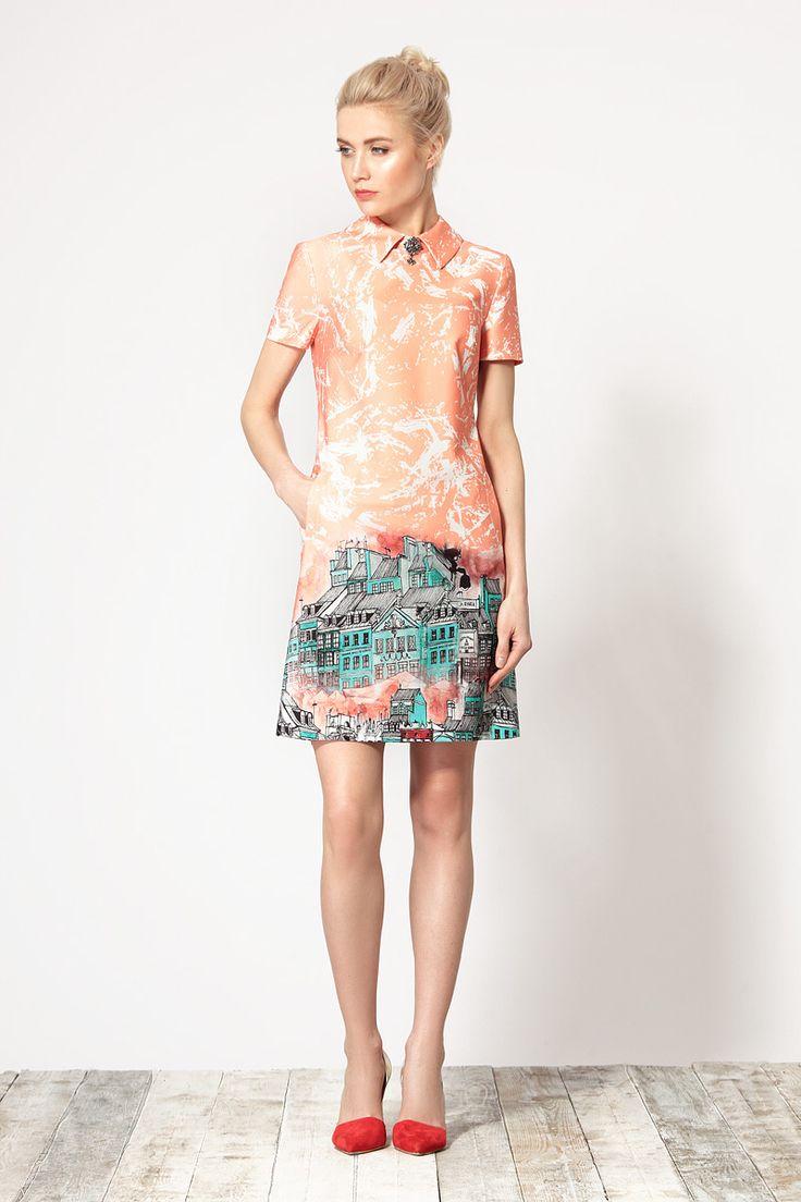 Удобное платье, выполненное из эластичной ткани с актуальной печатью от Devita.