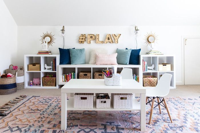 playroom, kids space, stylish playroom, media room, organization, storage