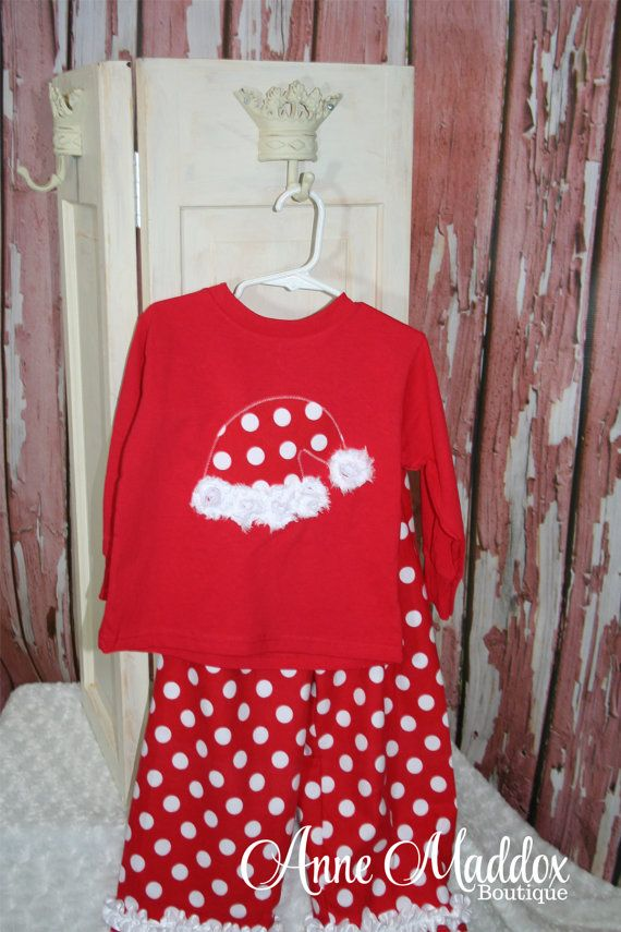 Polka Dot Santa Hat Christmas Pajamas, Girls Christmas Pajamas, Christmas Pajamas for Children, Kids Christmas Pajamas, 2T, 3T, 4T, 6, 8