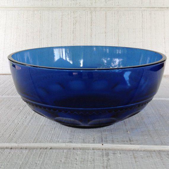 Vintage Crown Imperial Blue Round Bowl Vintage Tiara Crown Salad