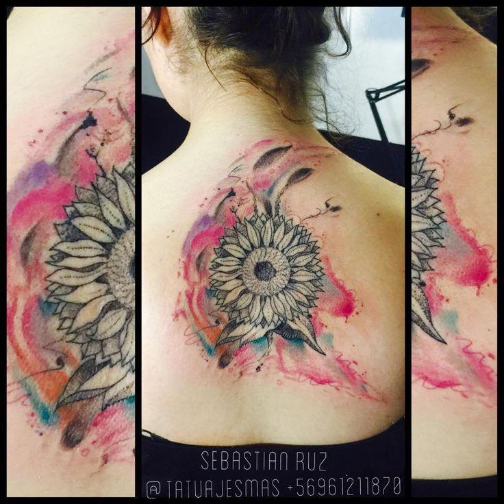tatuajes girasoles, whatercolor,acuarelado,fullcolor tattoo, colores,tatuajes de flores,tatuador sebastian ruz dominguez, tatuajesmas, +56961211870