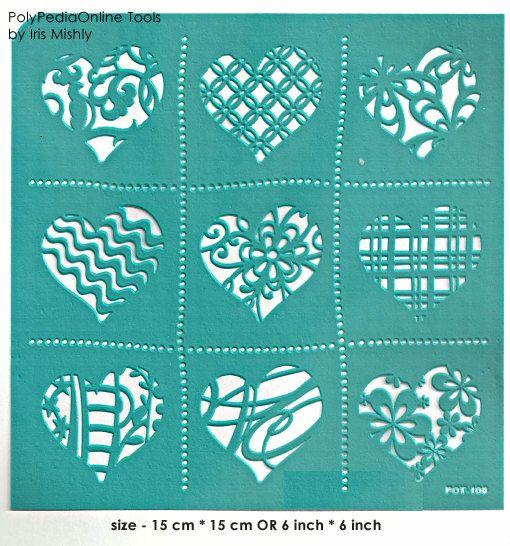 Stencil Asymmetric Hearts 6 inch/15 cm self-adhesive by irismishly