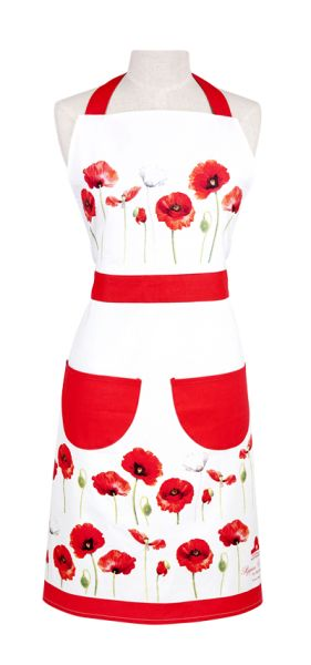 ASHDENE Apron Poppies - White Apple Gifts