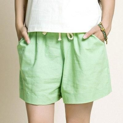 Cotton Linen Elastic Waist Women Shorts Candy Colors Loose Casual Shorts Plus Size Women Vintage Shorts Wide Leg Shorts Green XX
