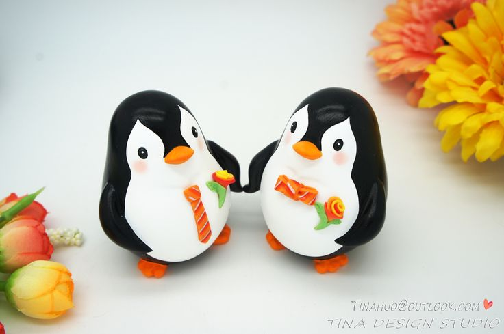 Funny Gay Wedding Cake Toppers Fall Themed-Custom Same Sex Penguin Wedding Cake Toppers Orange Themed