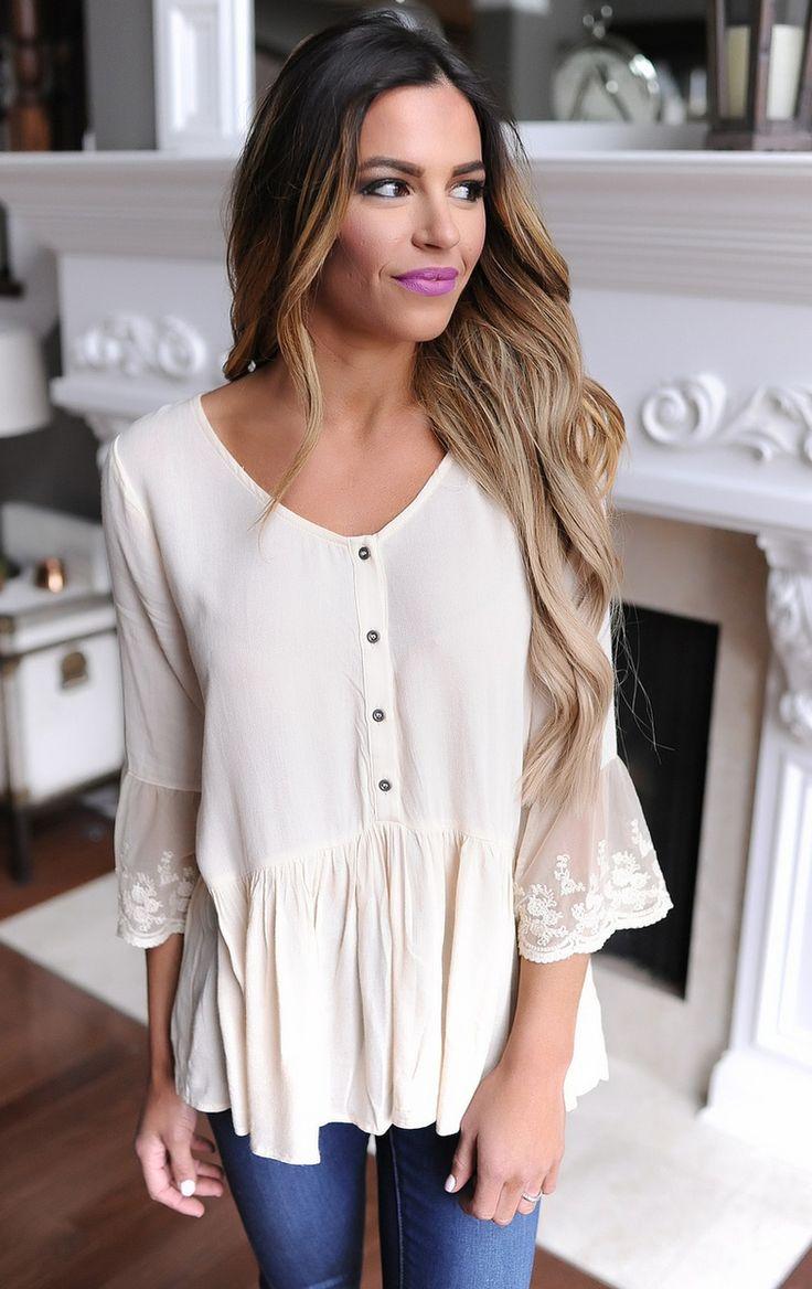 Beige Lace Sleeve Peplum Blouse - Dottie Couture Boutique