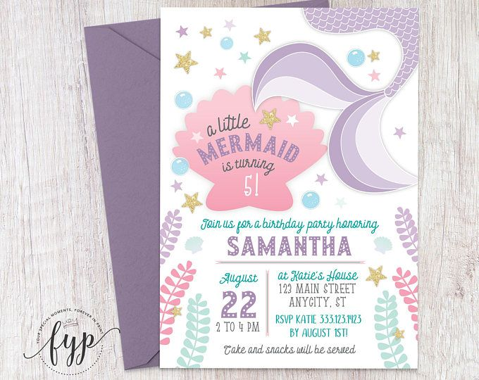 Mermaid Birthday Invitation - Mermaid Invitation - Under The Sea Birthday - Under The Sea Party - Mermaid Tail Invitation - Girls Birthday