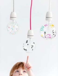 fun DIY idea with doodling on bulbs