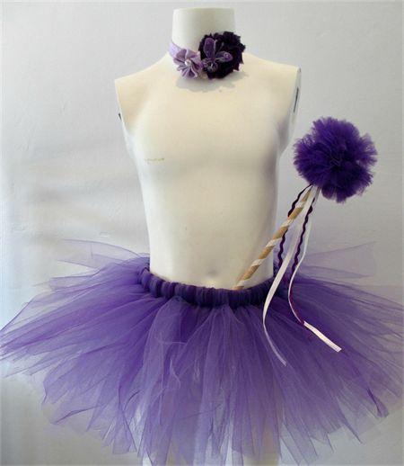 Purple fairy tutu set, includes pompom wand, tutu and headband