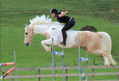 """Alicia Burton jumping Classic Gold Rush. These two really are amazing! You don't need metal to """"control"""" a horse!"""