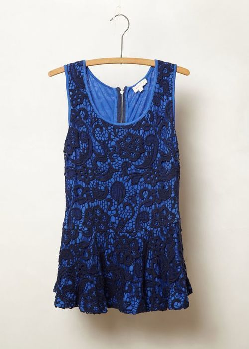 Women's Anthropologie Meadow Rue Emilia Lace Peplum Top Cobalt Blue Black S #Anthropologie #TankCami #Casual