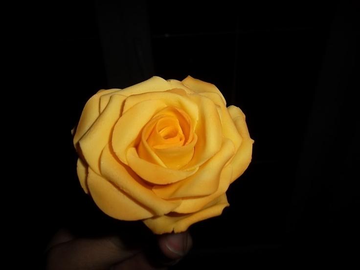 Yellow rose flower fondant gum paste