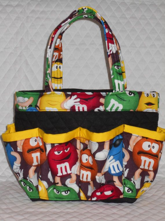 M & M candy print 8 pockets bingo bag /great for by sewtrendyrose, $25.00