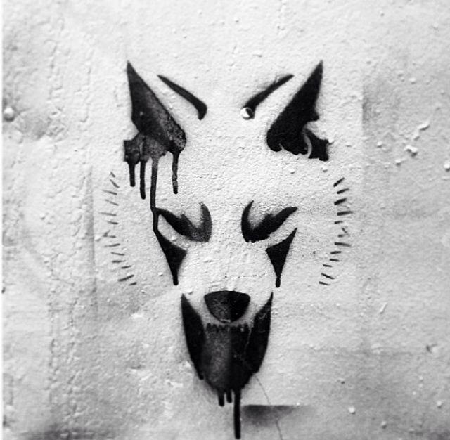 Wolf graffiti.