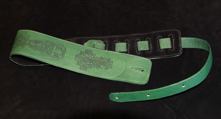 Celtic Cross and Knot Guitar Strap - Green.