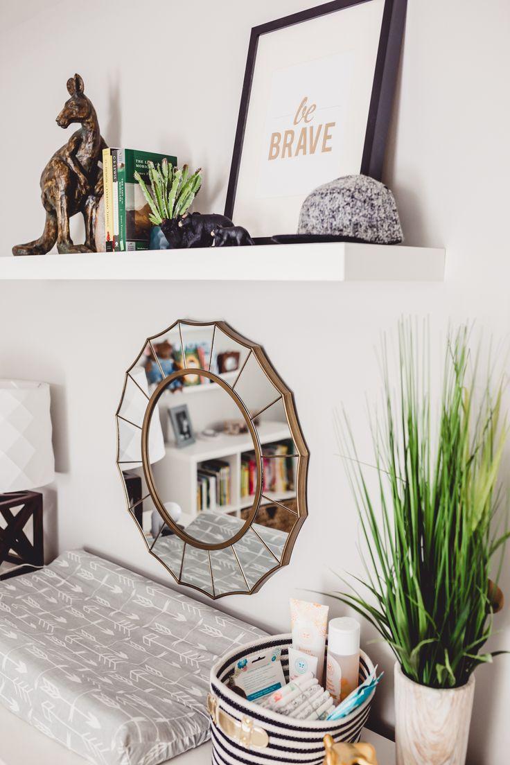 Nursery Decor styling modern southwestern dresser baby room shelf styling Atlanta photographer interior design