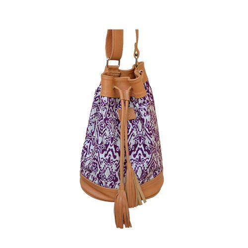 Sorayane - Leather and Indonesian Batik Bucket Bag